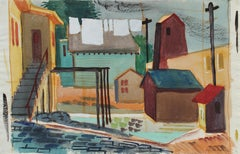 Quiet Backyard City Scene 1946 Watercolor