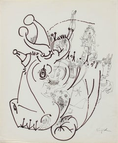 Surreal Rhinoceros Drawing 1960-80s Ink and Graphite