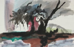 Expressionist Landscape With Tree 1982 Ink and Watercolor