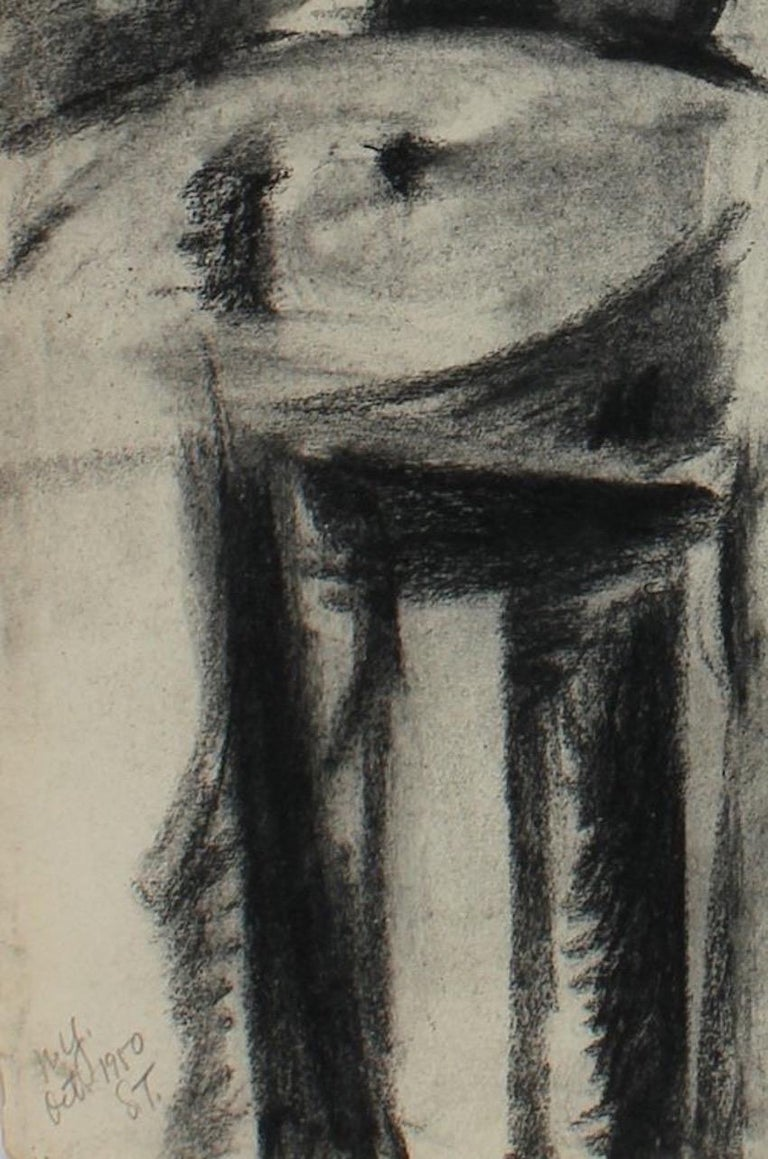 Abstracted Linear Figure October 1950 Charcoal on Paper - Art by Seymour Tubis