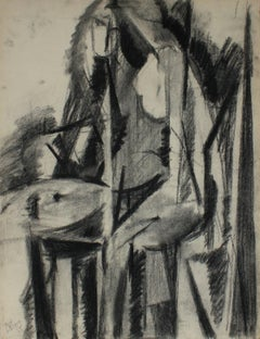 Abstracted Linear Figure October 1950 Charcoal on Paper
