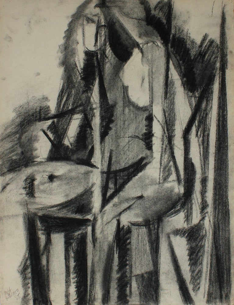 Seymour Tubis Figurative Art - Abstracted Linear Figure October 1950 Charcoal on Paper