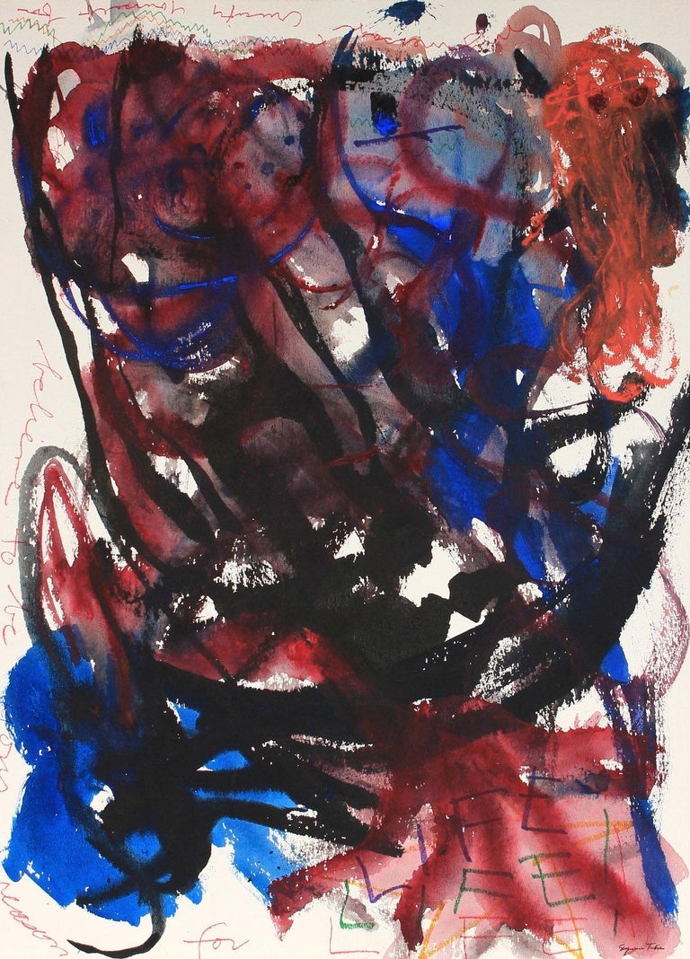 Seymour Tubis Abstract Painting - Red and Blue Expressionist Abstract Ink and Acrylic