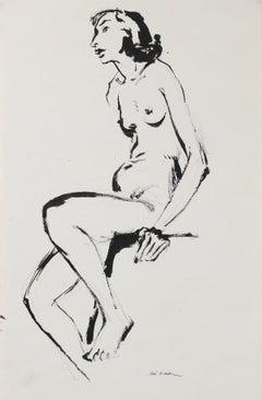 Seated Modernist Female Nude Mid 20th Century Ink