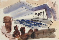 Abstracted Drive In Movie Scene 1944 Watercolor
