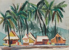 Beach Huts with Palm Tree Landscape 1945 Watercolor