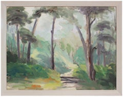 Shady Forest Path Early 20th Century Oil
