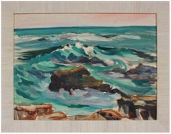 Vivid Rocky Waves Early 20th Century Oil on Paper