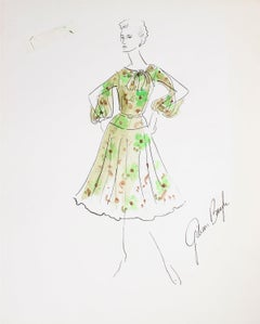 Floral Spring Dress with Slit Sleeves Gouache & Ink Fashion Illustration