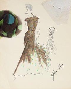 Vintage Long-Torso Dress in Brown Gouache & Ink Fashion Illustration