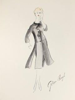 Black Skirt Suit Gouache & Ink Fashion Illustration