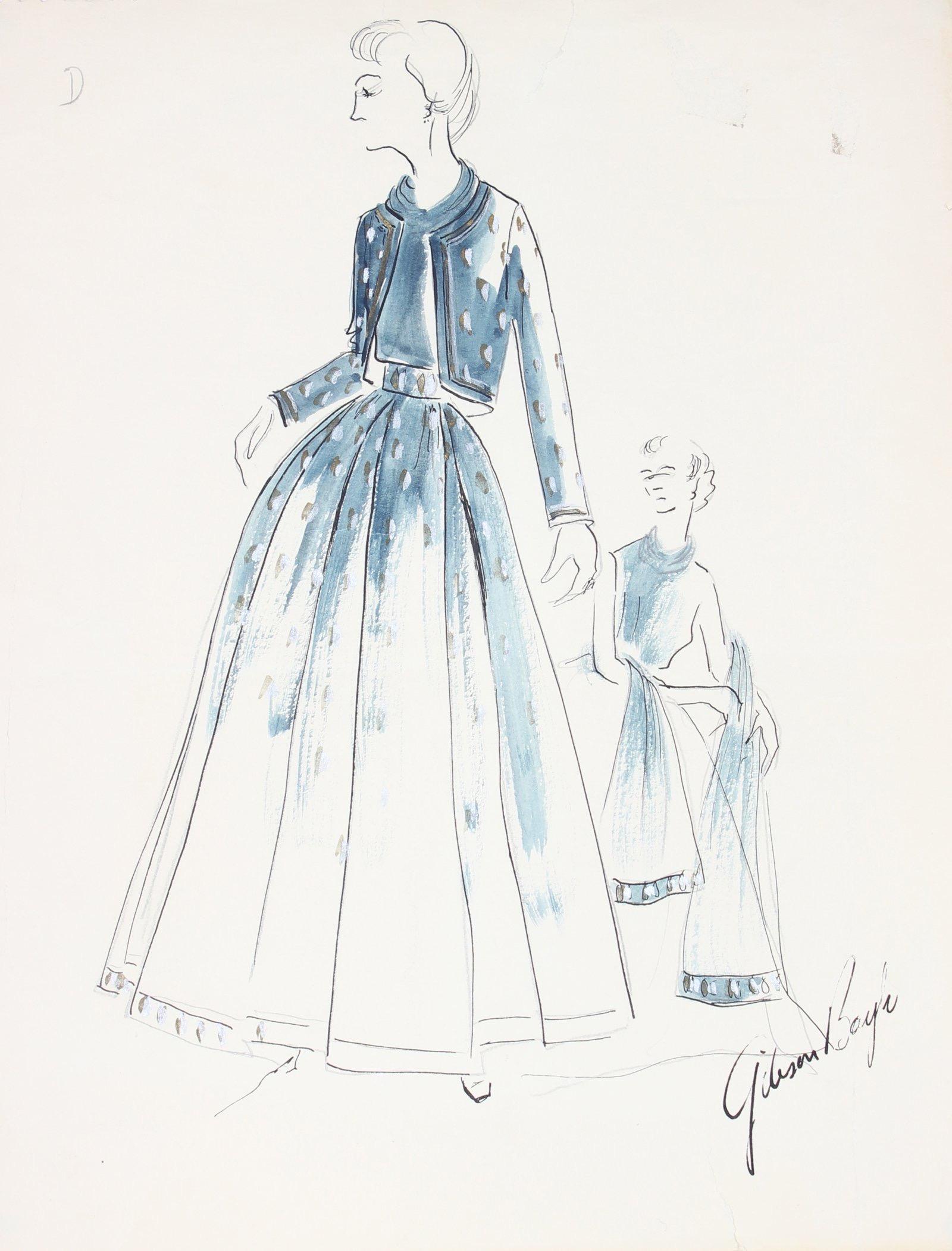 Belted Navy Blue Dress Gouache & Ink Fashion Illustration