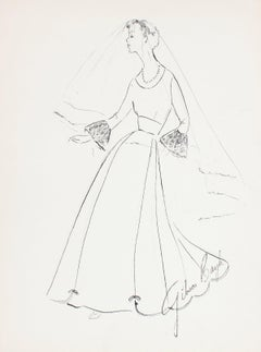Vintage Wedding Dress Gouache & Ink Fashion Illustration