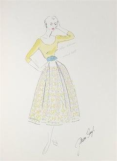 Vintage Full Circle Skirt Gouache & Ink Fashion Illustration