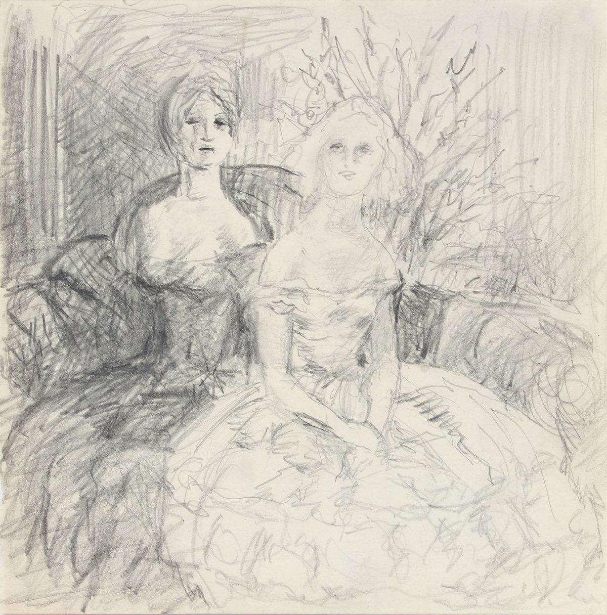 Vintage Drawing of Two Society Ladies 1940-50s Graphite