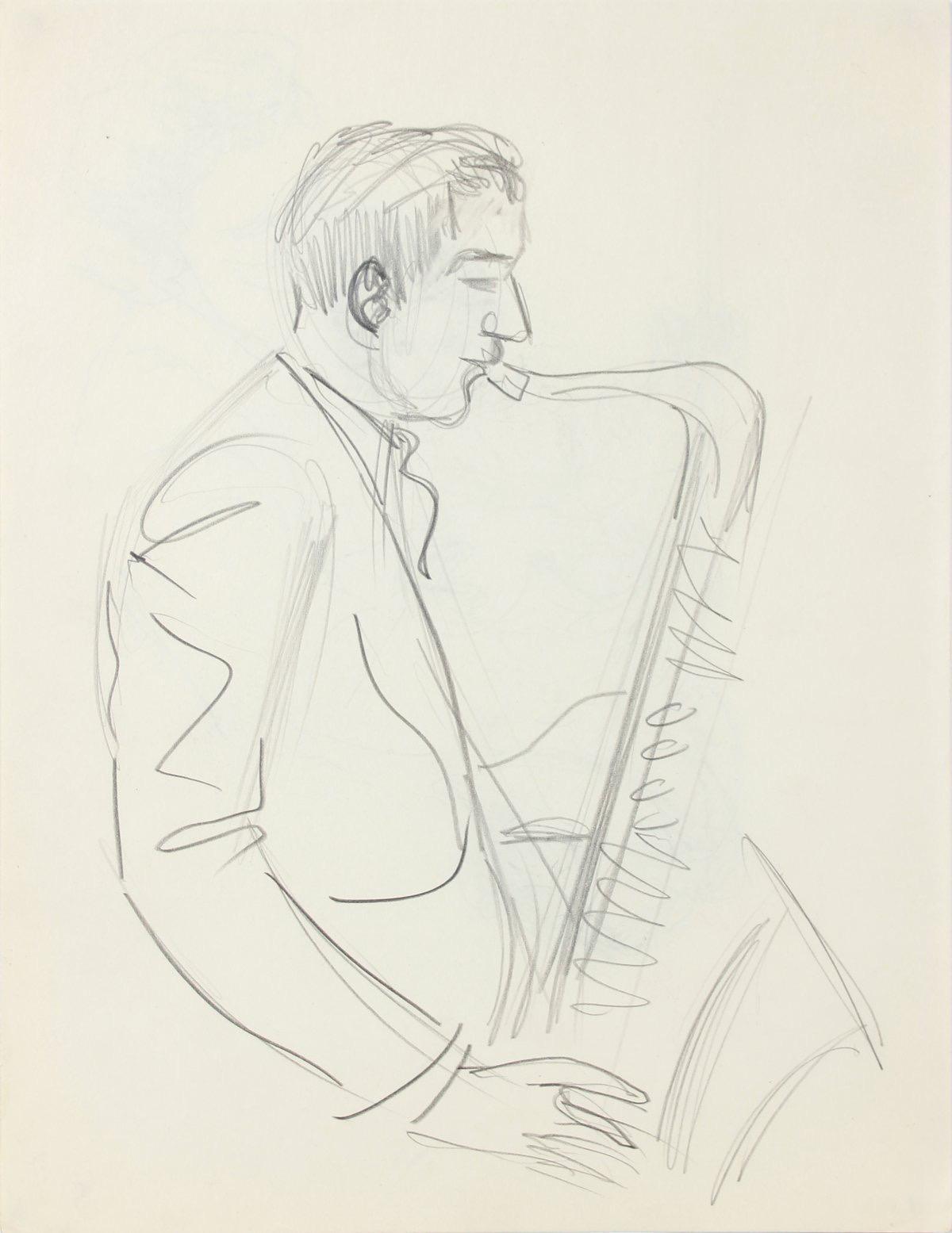 Saxophone Player, New York 1940-50s Graphite