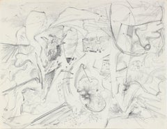 Hectic Vintage Abstract Sketch 1940-50s Graphite