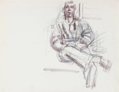 Expressionist Seated Figure Sketch 1940-50s Ink & Graphite