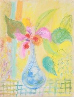 Colorful Floral Still Life 1940-50s Pastel
