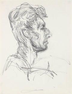 Expressive Male Portrait Study 1940-50s Graphite