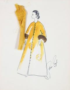 Flowy Yellow Coat Gouache & Ink 1950's Fashion Illustration