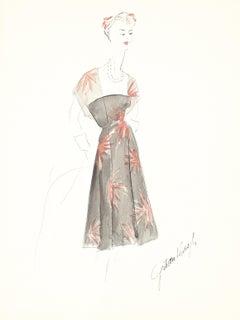 Vintage Floral Patterned Dress Gouache & Ink Fashion Illustration