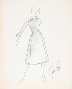 Fashion Illustration in Black, Ink and Gouache Drawing, 1950s