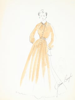 Fashion Illustration in Yellow, Ink and Gouache Drawing, 1950s