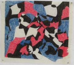 Red & Blue Geometric Study 1970s Ink & Colored Pencil