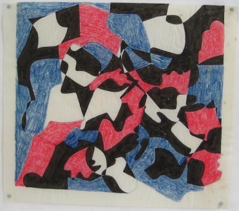 Dellard Cassity Abstract Drawing - Red & Blue Geometric Study 1970s Ink & Colored Pencil