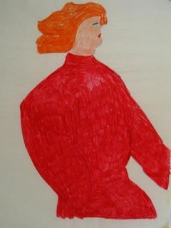 Redhead in a Red Sweater 1970s Felt Marker