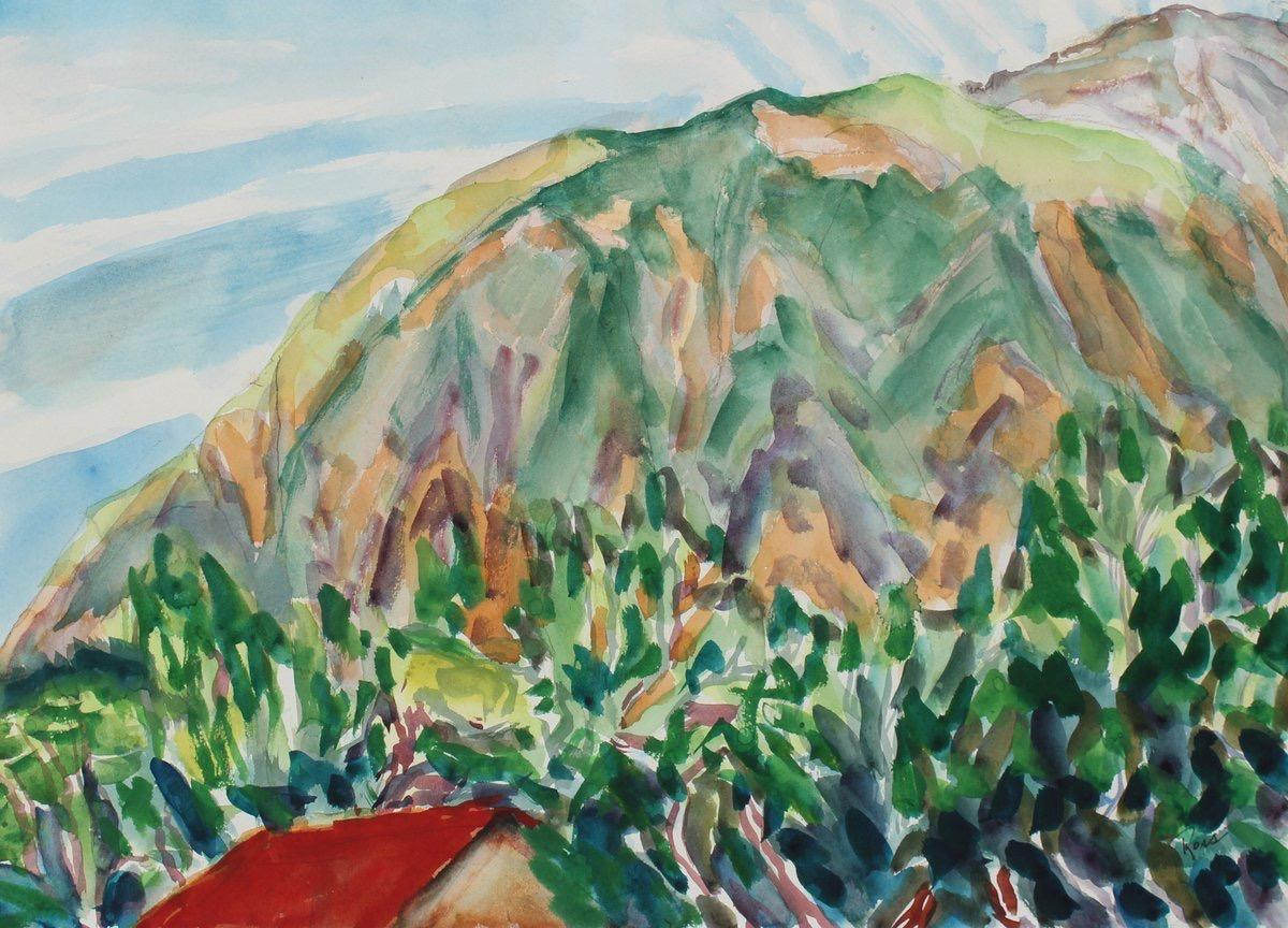 Abstracted Vibrant Landscape Mid Century Watercolor