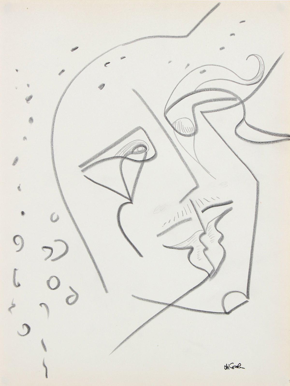 Amorphous Face 20th Century Graphite on Paper