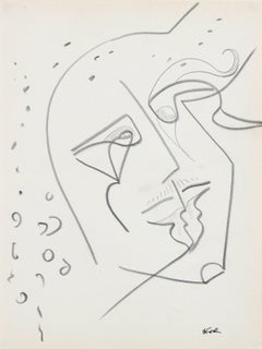 Amorphous Face 20th Century Graphite on Paper