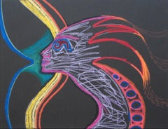 Radiant Abstract Psychedelic Profile Mid to Late 20th Century Pastel