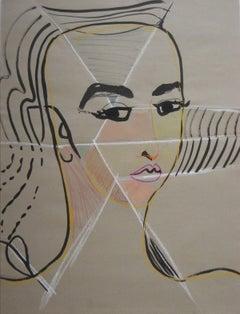 Feminine Portrait In Pastel Tones Mid - Late 20th Century Ink & Pastel