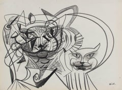 Surreal Abstracted Cat Faces Late 20th Century Graphite