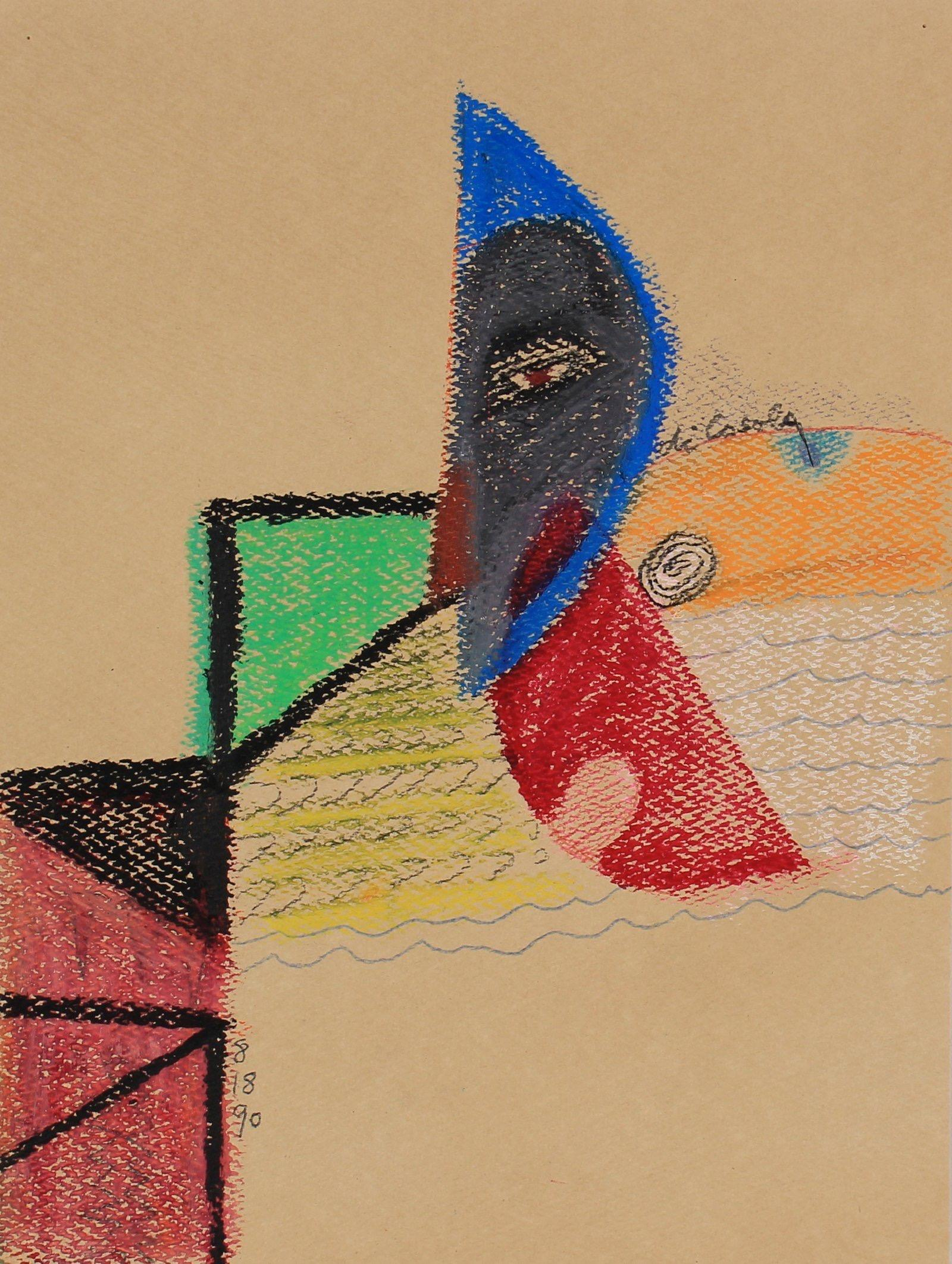 Colorful Abstract With Eye 1990 Oil Pastel & Graphite