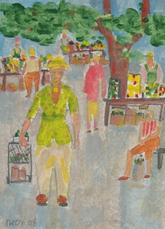 """Farmers Market"" 2008 Acrylic & Graphite"