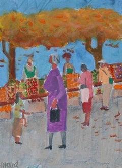"""""""Farmers Market II"""" 2008 Acrylic Scene"""