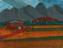 """Sawtooth Mountain"" 2008 Acrylic & Graphite in Burnt Orange"