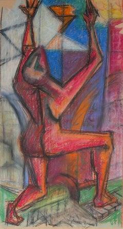 Vivid Cubist Figure 1960s Pastel Scene