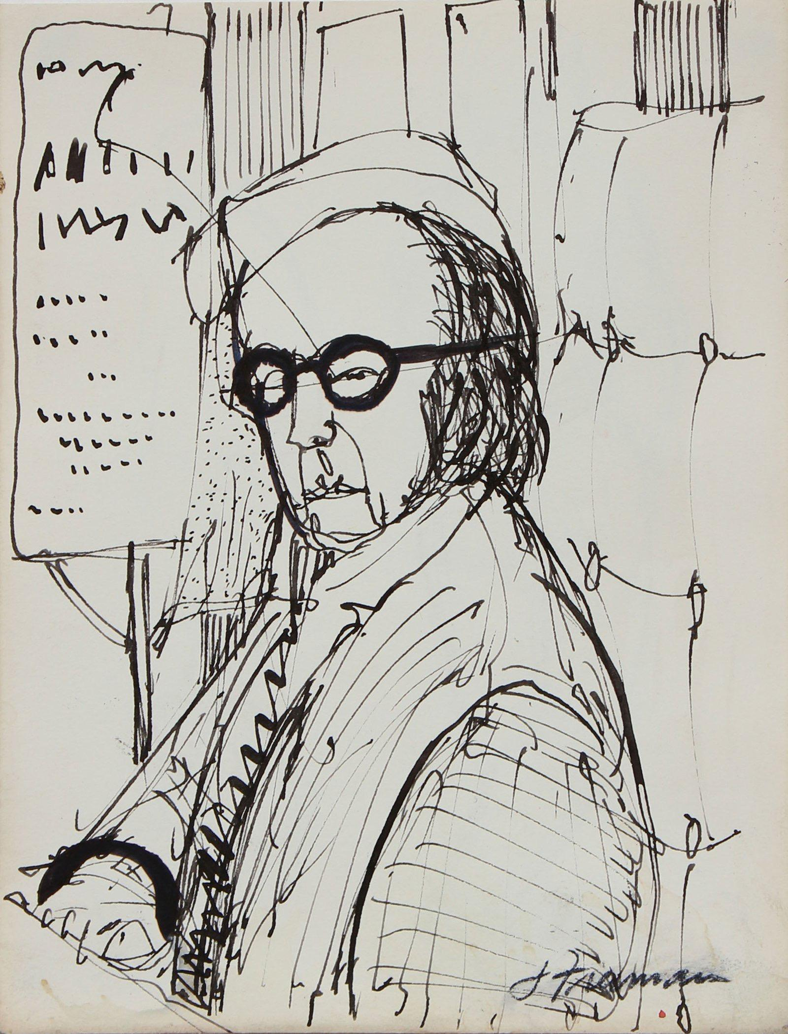 Seated Figure in Glasses 1960s-1970s Ink