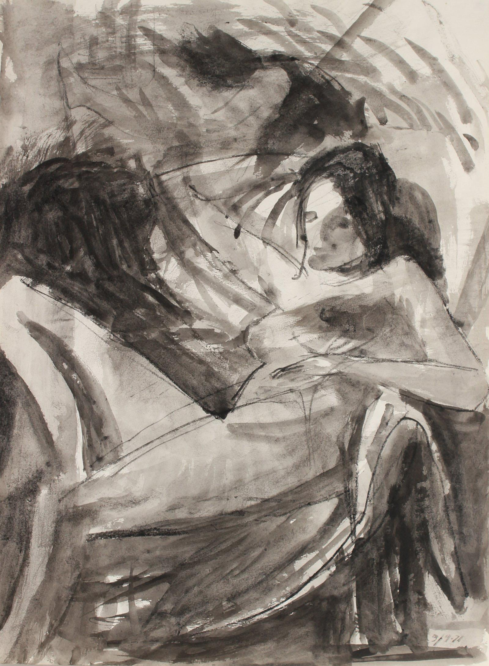 Modernist Seated Female Nude Model 1971 Charcoal and Ink