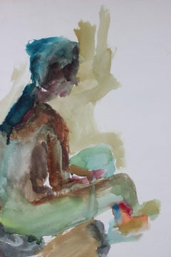 Colorful Abstracted Seated Figure 1962 Watercolor