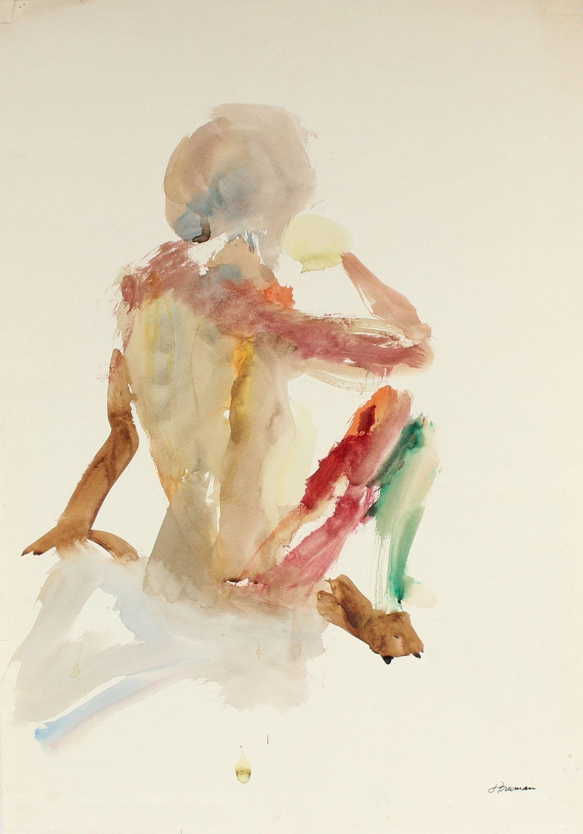 Warm Toned Abstracted Seated Figure 1960 Watercolor