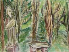 """Garden Caramoor"" 1964 Lush Green Pastel Scene"