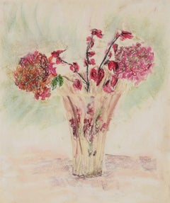 """Red Flowers in a Clear Vase"" Pastel Still Life, 1960s"
