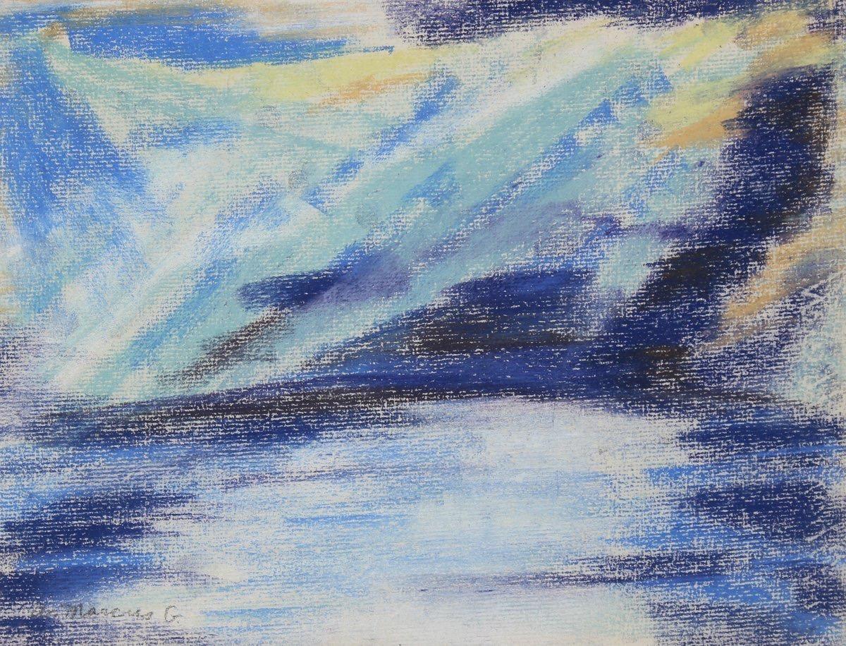 """""""Day Break Over Water"""" 1962 Pastel Puerto Rico"""
