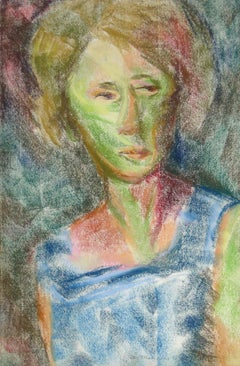 """""""Portrait of a Lady (Blue Dress)"""" 1964 Pastel"""